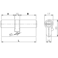 Цилиндровый механизм Kale 164 BN 90мм (30-10-50) латунь