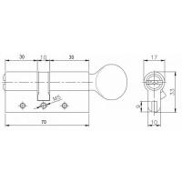 Цилиндровый механизм Kale 164 DBM-E 70мм (30-10-30) никель