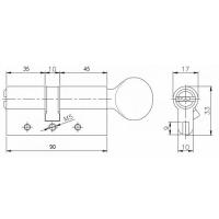 Цилиндровый механизм Kale 164 DBM-E 90мм (35-10-45) никель