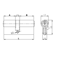 Цилиндровый механизм Kale 164 GN 62мм (26-10-26) никель