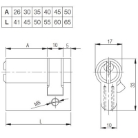 Цилиндровый механизм (половинчатого типа) Kale 164GR 41мм (05+10+26) латунь