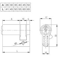 Цилиндровый механизм (половинчатого типа) Kale 164GR 50мм (05+10+35) латунь
