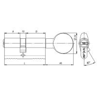 Цилиндровый механизм Kale 164 BM 90мм (40-10-40) латунь