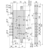 Замок врезной Cisa 57.986.48 NEW CAMBIO FACILE (ключ 64 мм)