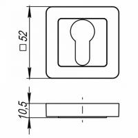 Накладки под цилиндр Punto ET QR GR/CP-23 (графит/хром)