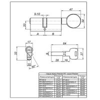 Цилиндровый механизм RT-70(30/40C)-C-NI Apecs