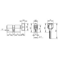 Цилиндровый механизм PUNTO Z402/120mm (55+10+55) CP хром