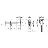 Цилиндровый механизм PUNTO Z402/70mm (30+10+30) CP хром