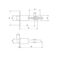 Ручка-защелка APECS 8026-01-CRM/CR (мат. хром/хром)