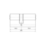 Цилиндровый механизм 105мм (32,5+72,5) латунь