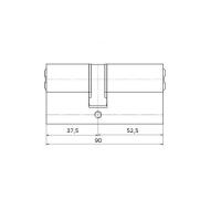Цилиндровый механизм 90мм (37,5+52,5) латунь
