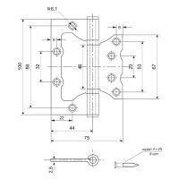 Петля накладная AVERS 100*75*2,5-B2-MB (мат. бронза)