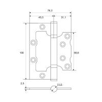 Петля накладная APECS 100*75*2,5-B2-NIS (мат. никель)