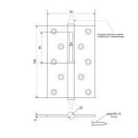 Петля разъемная APECS 120*80-B-NIS-R (мат. никель)