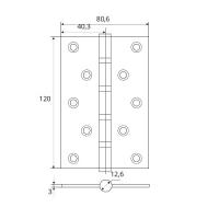 Петля универсальная APECS 120*80-B4-NIS (мат. никель)