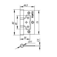 Петля накладная PUNTO 200-2B 75*2,5-CP (хром)