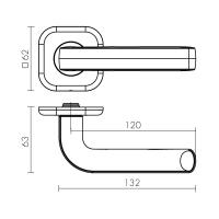 Ручки дверные TOR XL CP-8 Fuaro (квадрат 140)