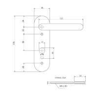 Ручка на планке Apecs HP-72.1303-BL (для 1300A, 1700A)