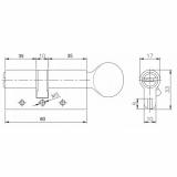 Цилиндровый механизм Kale 164 DBM-E 80мм (35-10-35) никель
