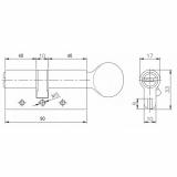 Цилиндровый механизм Kale 164 DBM-E 90мм (40-10-40) никель
