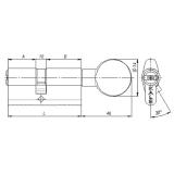 Цилиндровый механизм Kale 164 BM 100мм (40-10-50) никель