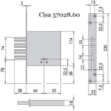 Замок врезной Cisa 57.028.60