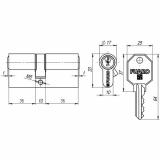 Цилиндровый механизм Fuaro 100 CA 80 mm (35+10+35) CP хром