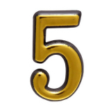 Цифра дверная большая 5 (золото)