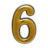 Цифра дверная большая 6 (золото)