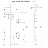 Замок врезной Apecs 1323/60-AB (бронза)