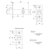 Задвижка врезная Apecs L-0126-NIS (мат. никель)
