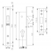 Замок врезной Kale Kilit 201-20 (МЦ 62мм, 3 ключа)