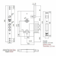 Замок врезной Kale Kilit 252R (МЦ 68мм, 5 ключей)