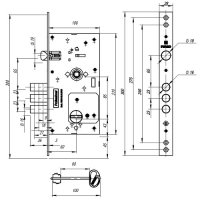 Замок врезной Fuaro V25/S-60.85.3R16 (4 ключа)