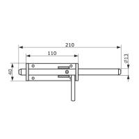 Засов воротный (110) 210мм (с проушиной) цинк